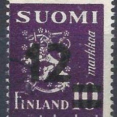 Sellos: FINLANDIA 1948 - ESCUDO DE ARMAS, SOBRECARGADO - USADO. Lote 288898328