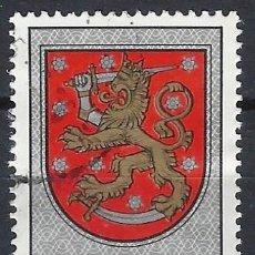 Sellos: FINLANDIA 1974 - ESCUDO NACIONAL, DE LA TUMBA DEL REY GUSTAV VASA, CATEDRAL DE UPPSALA - USADO. Lote 288900563