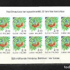 Sellos: FINLANDIA 1991, IVERT 1092 CARNET ADHESIVO 10 VALORES FLORA. MNH.. Lote 296611043
