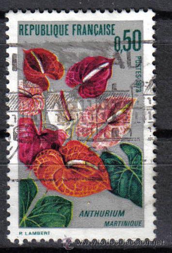 FRANCIA 1973 - 0.5 F YVERT 1738 - PLANTAS : ANTHURIUM DE LA MARTINICA - USADO (Sellos - Temáticas - Flora)