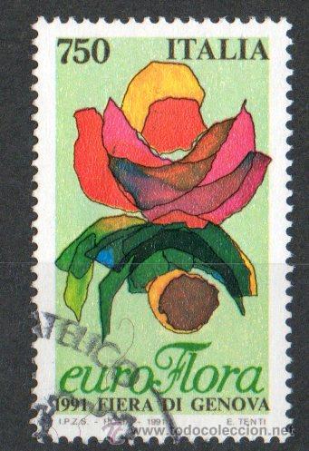 ITALIA AÑO 1991 YV 1899ºº FERIA DE GÉNOVA EUROFLORA - FLORES - FLORA - NATURALEZA (Sellos - Temáticas - Flora)