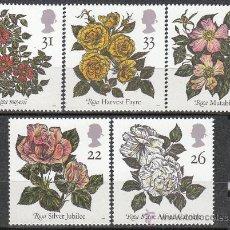 Sellos: INGLATERRA IVERT 1551/5, VARIEDADES DE ROSAS, NUEVO. Lote 24297282