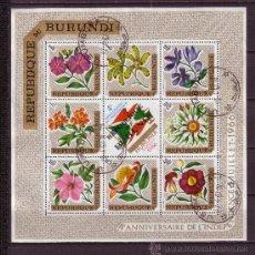 Sellos: BURUNDI HB 17 - AÑO 1967 - FLORA - FLORES - 4º ANIVERSARIO DE LA INDEPENDENCIA - BANDERA. Lote 26056169