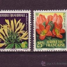 Sellos: AFRICA ECUATORIAL FRANCESA 243/44*** - AÑO 1958 - FLORA - FLORES. Lote 28139624