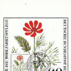 Sellos: ALEMANIA BERLIN IVERT 592, ADONIS AESTIVALIS, TARJETA MÁXIMA DE 9-10-1980. Lote 30886348