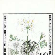 Sellos: ALEMANIA BERLIN IVERT 590, ORLAYA GRANDIFLORA, TARJETA MÁXIMA DE 9-10-1980. Lote 30886398