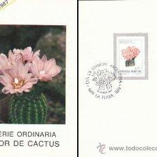Sellos: ARGENTIBA, FLOR DE CACTUS, PRIMER DIA DE 21-3-1987, EN HOJA DESCRIPTIVA DEL SERVICIO FILATELICO ARGE. Lote 31338576