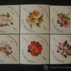 Sellos: NICARAGUA 1986 IVERT 1404/6 Y AEREO 1131/3 *** FLORA - ROSAS SALVAJES . Lote 32132033