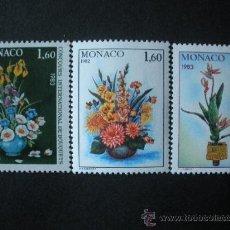 Sellos: MONACO 1982 IVERT 1349/51 *** CONCURSO INTERNACIONAL DE RAMOS DE FLORES - MONTECARLO - FLORA. Lote 33593653