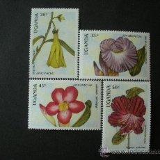 Sellos: UGANDA 1988 IVERT 510/3 *** FLORA (II) - FLORES DIVERSAS . Lote 34114614