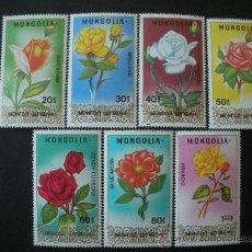 Sellos: MONGOLIA 1988 IVERT 1580/6 *** FLORA - ROSAS - FLORES. Lote 34114831