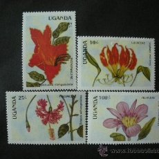 Sellos: UGANDA 1988 IVERT 506/9 *** FLORA (I) - FLORES DIVERSAS . Lote 34332260