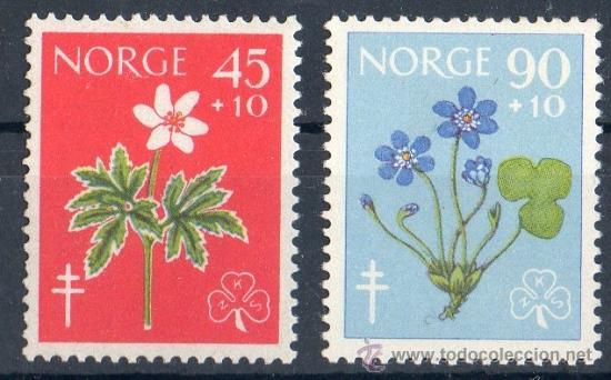 NORUEGA AÑO 1960 YV 396/97*** LUCHA CONTRA LA TUBERCULOSIS - CRUZ DE LORENA - FLORES - FLORA - SALUD (Sellos - Temáticas - Flora)
