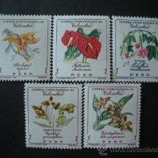 Sellos: COLOMBIA 1960 AEREO IVERT 357/61 *** FLORA - FLORES DIVERSAS. Lote 35457158