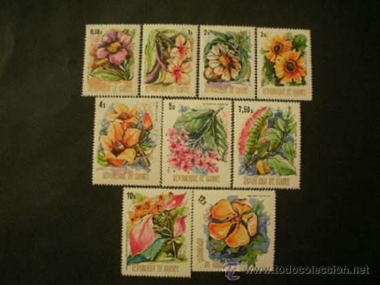 R.GUINEA 1974 IVERT 520/8 *** FLORA - FLORES DE GUINEA (Sellos - Temáticas - Flora)