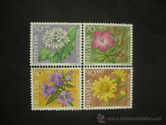 SUIZA 1991 IVERT 1383/6 *** FLORA - FLORES DE LOS BOSQUES (Sellos - Temáticas - Flora)
