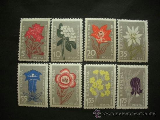 RUMANIA 1957 IVERT 1517/24 * FLORA - FLORES DIVERSAS DE LOS CARPATOS (Sellos - Temáticas - Flora)