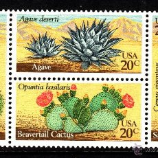 Sellos: ESTADOS UNIDOS 1368/71** - AÑO 1981 - FLORA - PLANTAS DEL DESIERTO - CACTUS. Lote 268172989