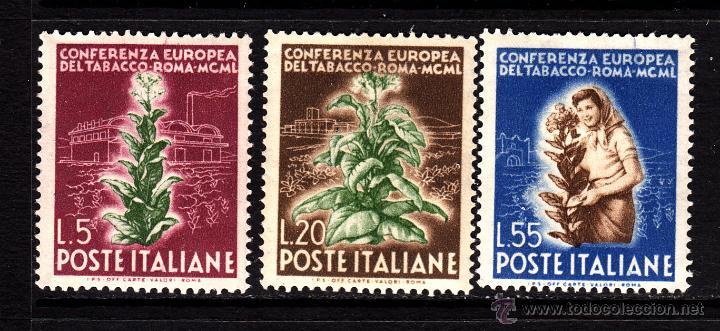 ITALIA 567/69** - AÑO 1950 - CONFERENCIA SOBRE EL TABACO - FLORA - PLANTAS (Sellos - Temáticas - Flora)
