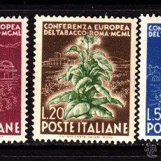 Sellos: ITALIA 567/69** - AÑO 1950 - CONFERENCIA SOBRE EL TABACO - FLORA - PLANTAS. Lote 41070286