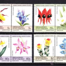 Sellos: GRANADINAS DE SAN VICENTE 392/99** - AÑO 1985 - FLORA - FLORES . Lote 49085143