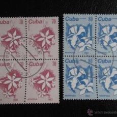 Sellos: CUBA. 2475/76 SERIE BÁSICA. FLORES: AZUCENA Y MARIPOSA, EN BLOQUE DE CUATRO. 1983. SELLOS USADOS Y N. Lote 53185054