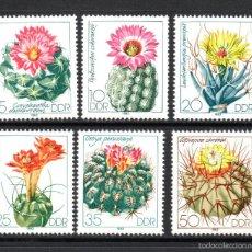 Sellos: ALEMANIA ORIENTAL 2445/50** - AÑO 1983 - FLORA - CACTUS Y FLORES. Lote 268172904