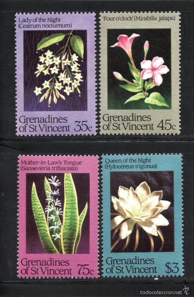 GRANADINAS DE SAN VICENTE 351/54** - AÑO 1984 - FLORA - FLORES NOCTURNAS (Sellos - Temáticas - Flora)