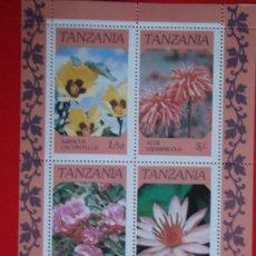 Sellos: TANZANIA. HB 46 FLORA: HIBISCUS, ALOE, NERSIUM OLEANDER Y NYMPHAEA CAERULEA. 1986. SELLOS NUEVOS Y N. Lote 61115899