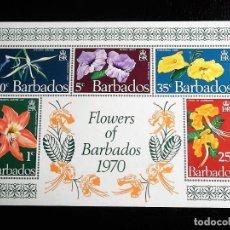 Sellos: BARBADOS. HB 3 FLORES: HIPPEASTRUM, RUELLIA, EPIDENDRUM, CAESALPINIA Y TECOMA. 1970. SELLOS NUEVOS. Lote 69365041
