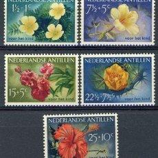 Sellos: ANTILLAS HOLANDESAS 1955 IVERT 236/40 * FLORA - FLORES DIVERSAS. Lote 70564145