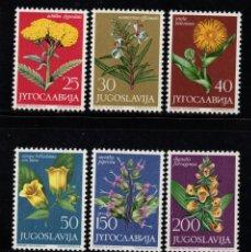 Sellos: YUGOSLAVIA 1013/18** - AÑO 1965 - FLORA - FLORES - PLANTAS MEDICINALES. Lote 74920075