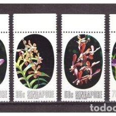 Sellos: SINGAPUR 1976 IVERT 246/9 *** FLORA - ORQUIDEAS DE SINGAPUR - NATURALEZA. Lote 87449656