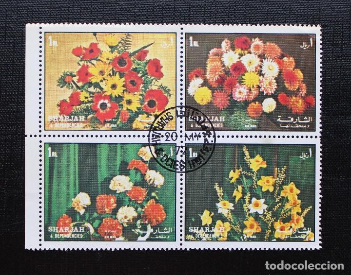 SHARAJAH 1972, MINI HOJA SELLOS DE FLORES, (O) (Sellos - Temáticas - Flora)