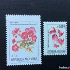 Sellos: ARGENTINA Nº YVERT 1479/0*** AÑO 1985. FLORES. ERYTHRINA CRISTAGALLI Y BEGONIA MICRANTHERA. Lote 106967003