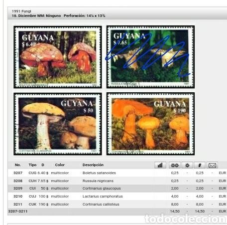 Sellos: Sellos de R. C. Guyana (Guayana) mtdos. 1991. Hongas. Setas. Naturaleza. Plantas. Bosque. Boletus - Foto 2 - 110937400