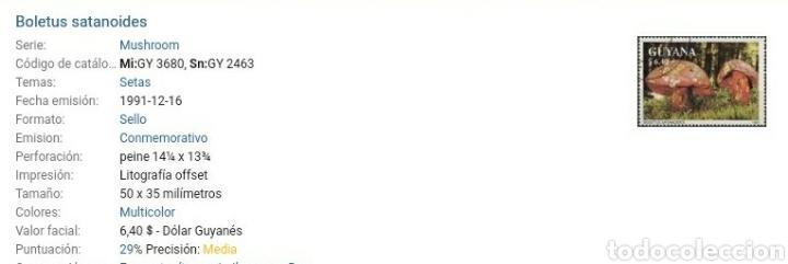 Sellos: Sellos de R. C. Guyana (Guayana) mtdos. 1991. Hongas. Setas. Naturaleza. Plantas. Bosque. Boletus - Foto 3 - 110937400