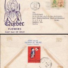 Sellos: CANADA 417, FLOR:GARDENIA Y ESCUDO DE QUEBEC, PRIMER DIA DE 30-6-1964 +VIÑETA PARALISIS INFANTIL . Lote 124276347