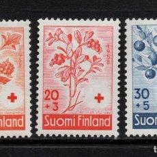Sellos: FINLANDIA 477/79** AÑO 1958 - FLORA - FLORES - PRO CRUZ ROJA. Lote 127220959