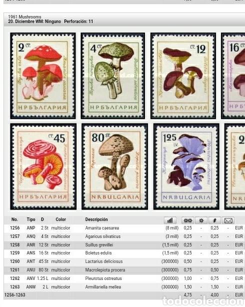 Sellos: Sellos de Bulgaria nuevos. 1961. Hongos. Setas. Plantas. Naturaleza. Plantas. Champiñones. Ecosistem - Foto 2 - 128025484