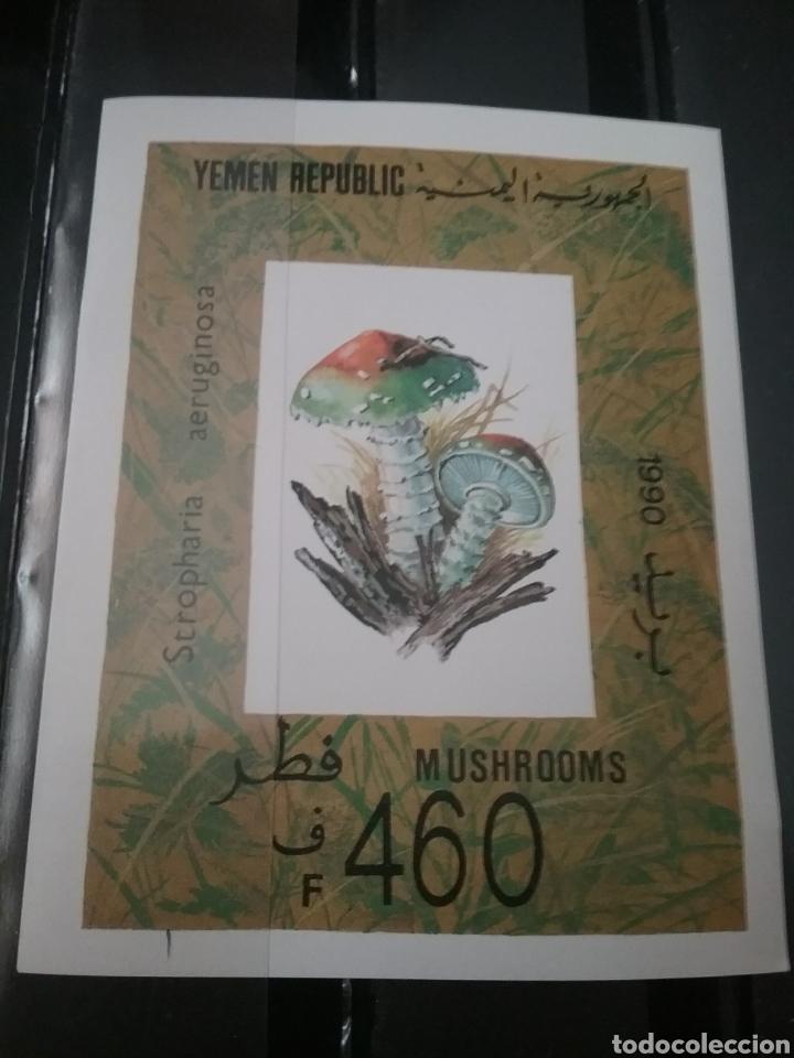 HB/SELLOS R. YEMEN NUEVA. 1990. SETAS. HONGOS. CHAMPIÑONES. PLANTAS. NATURALEZA. PLANTAS. DESCOMPONE (Sellos - Temáticas - Flora)