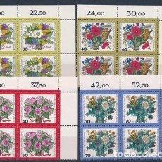 Sellos: ALEMANIA BERLIN 1974 Y&T 437/40** FLORES EN BLOQUES DE 4. Lote 135568294