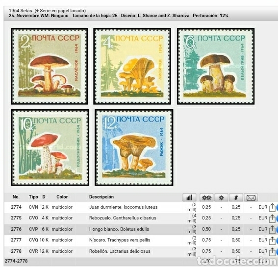 Sellos: Sellos Rusia (URSS.CCCP) mtdos/1964/Setas/hongos/miscalos/robellon/boletus/flora/plantas/naturaleza/ - Foto 2 - 138687364