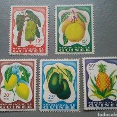 Sellos: 5 SELLOS REPÚBLICA GUINEA 16 / 20 FLORA FRUTOS AÑO 1959 GUINEE NUEVOS. Lote 138860864