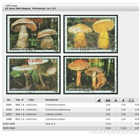 Sellos: HB de Guayana (Guyana) mtdos/1989/Setas/hongas/musgo/flora/naturaleza/plantas/descomponedores - Foto 2 - 142906540
