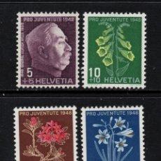 Sellos: SUIZA 467/70** - AÑO 1948 - FLORA - FLORES. Lote 143169114