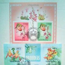 Sellos: ORQUÍDEAS 2 HOJAS BLOQUE DE SELLOS USADOS DE GUINEA BISSAU. Lote 143270904