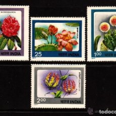 Sellos: INDIA 1977 IVERT 518/21 *** FLORA - FLORES DE LA INDIA. Lote 148524314