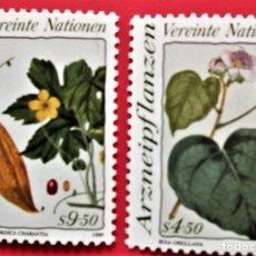 Sellos: ONU (VIENA). 106/07 PLANTAS MEDICINALES: BIXA ORELLANA, MOMORDICA CHARANTIA. 1990. SELLOS NUEVOS Y N. Lote 150264046