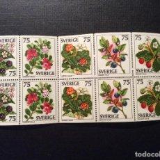 Sellos: SUECIA Nº YVERT 975A/9A PAREJA*** AÑO 1977. FLORA. BAYAS SALVAJES. Lote 151905862